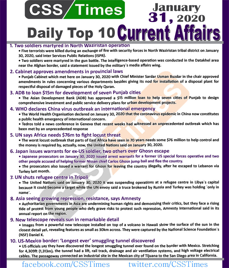Day by Day Current Affairs (January 31 2020) MCQs for CSS, PMS