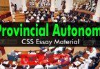 Provincial Autonomy | CSS Essay Material