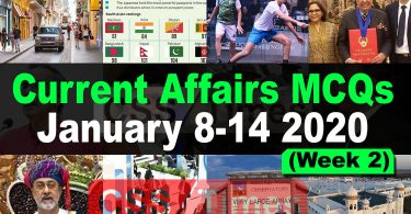 Current Affairs MCQs January 8-14 2020 (Week 2)