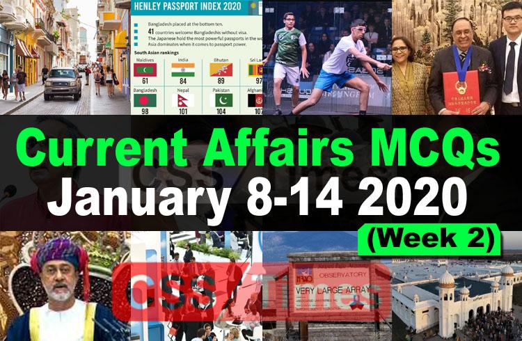 Current Affairs MCQs January 8-14 2020 (Week 2)