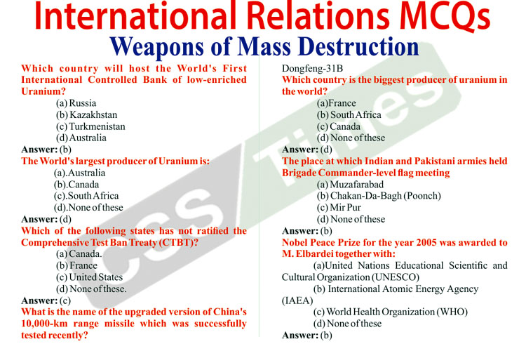 International Relations MCQs | Weapons of Mass Destruction