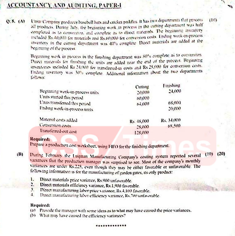 ACCOUNTANCY AND AUDITING, PAPER-I CSS 2020   FPSC CSS Past Papers 2020