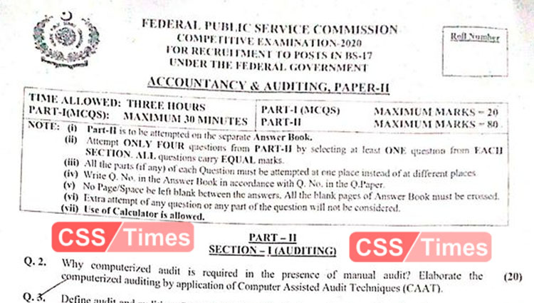 ACCOUNTANCY AND AUDITING, PAPER-II CSS 2020 | FPSC CSS Past Papers 2020