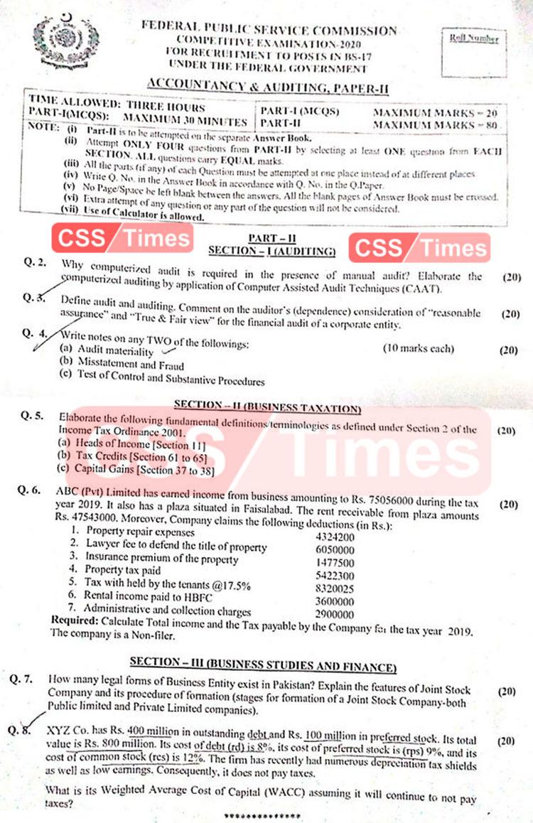 Accountancy & Auditing (Paper II)