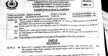 Computer Science, PAPER-I CSS 2020   FPSC CSS Past Papers 2020