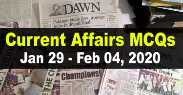 Current Affairs MCQs January 29 - February 04 2020 (Week 5)