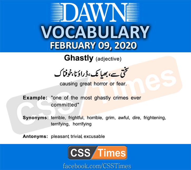 Daily DAWN News Vocabulary with Urdu Meaning (09 February 2020)