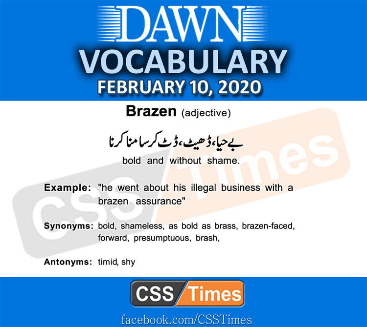 Daily DAWN News Vocabulary with Urdu Meaning (10 February 2020)