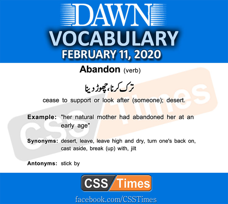 Daily DAWN News Vocabulary with Urdu Meaning (11 February 2020)