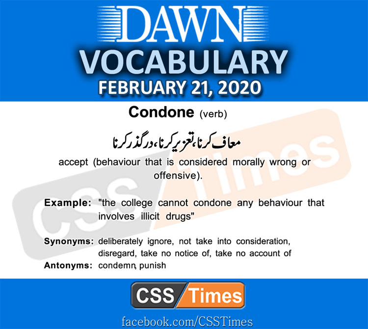 Daily DAWN News Vocabulary with Urdu Meaning (21 February 2020)