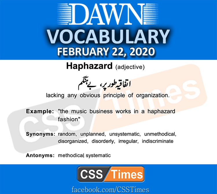 Daily DAWN News Vocabulary with Urdu Meaning (22 February 2020)