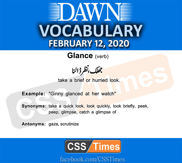 Daily DAWN News Vocabulary with Urdu Meaning (12 February 2020)