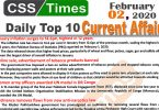 Day by Day Current Affairs (February 02 2020) MCQs for CSS, PMS