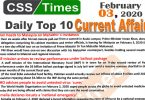 Day by Day Current Affairs (February 03 2020) MCQs for CSS, PMS