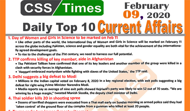 Day by Day Current Affairs (February 09 2020) MCQs for CSS, PMS