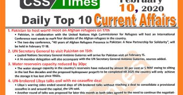 Day by Day Current Affairs (February 10 2020) MCQs for CSS
