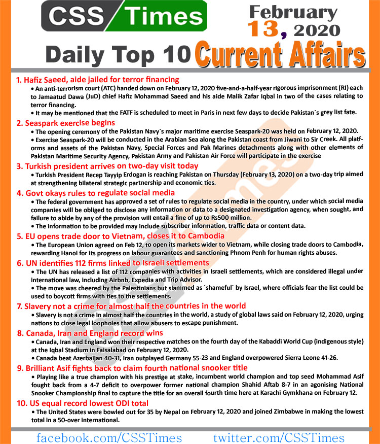 Day by Day Current Affairs (February 13 2020) MCQs for CSS, PMS