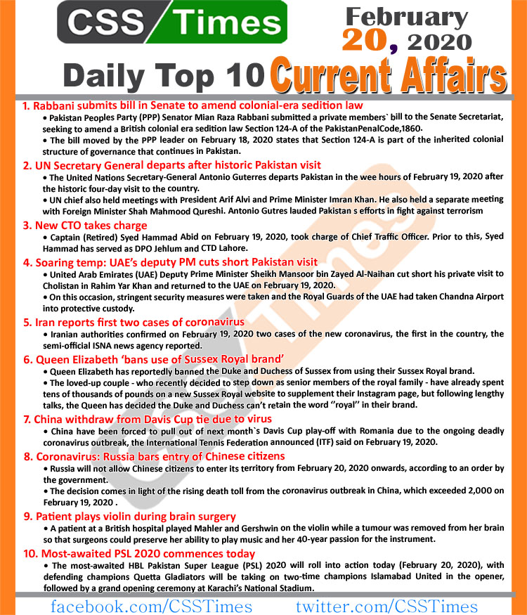 Day by Day Current Affairs (February 20 2020) MCQs for CSS, PMS