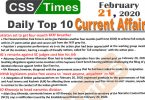 Day by Day Current Affairs (February 21 2020) MCQs for CSS, PMS