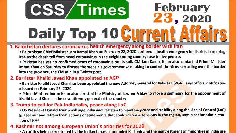 Day by Day Current Affairs (February 23 2020) MCQs for CSS, PMS