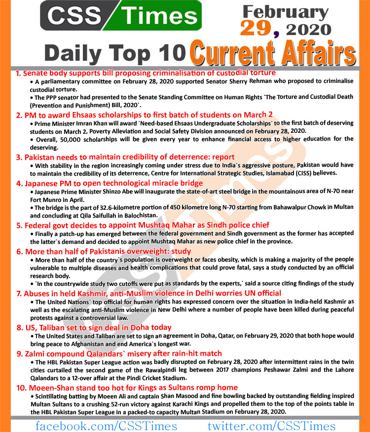 Day by Day Current Affairs (February 29, 2020) MCQs for CSS, PMS