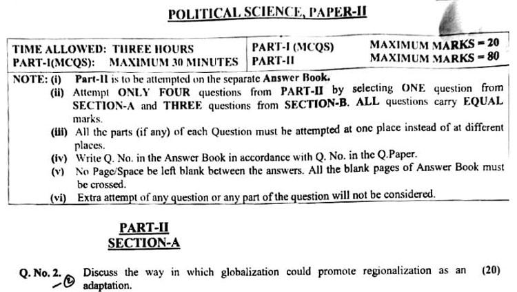 View original CSSPOLITICAL SCIENCE Paper I 2020 below: