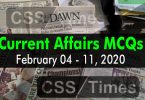 Current Affairs MCQs February 05 - 11 2020 (Week 6)