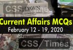 Current Affairs MCQs February 12 - 19 2020 (Week 7)