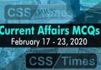 Current Affairs MCQs February 17-23 2020 (Week 8)