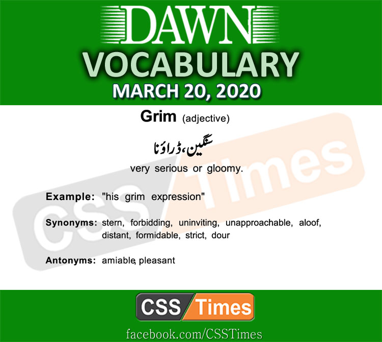 Daily DAWN News Vocabulary with Urdu Meaning (20 March 2020)