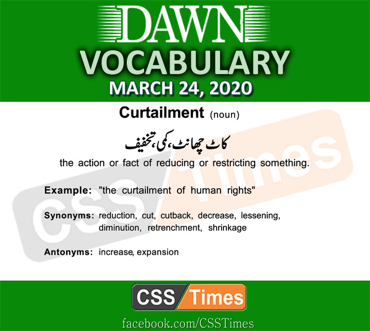 Daily DAWN News Vocabulary with Urdu Meaning (24 March 2020)