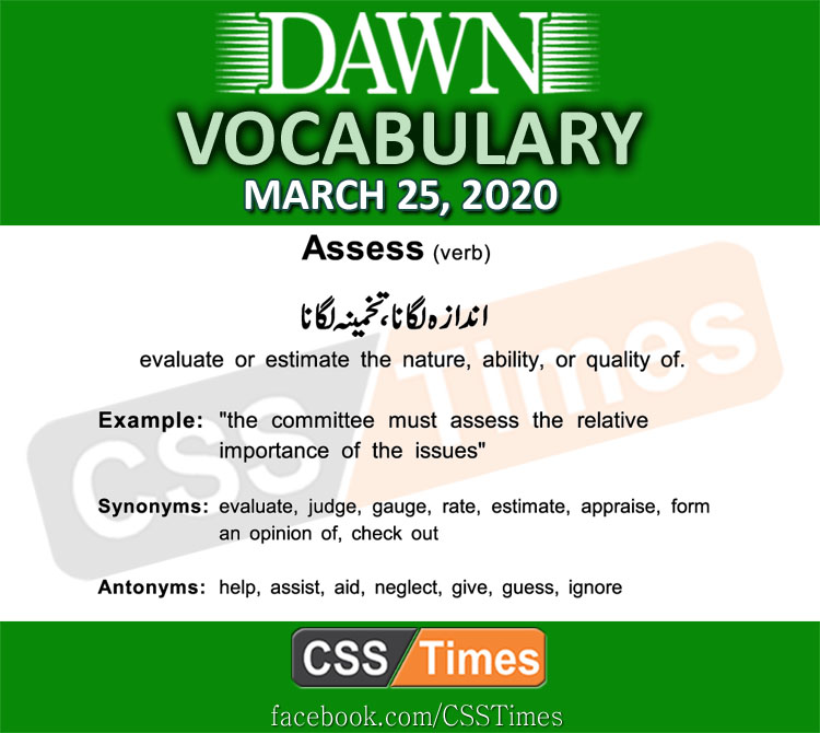 Daily DAWN News Vocabulary with Urdu Meaning (25 March 2020)
