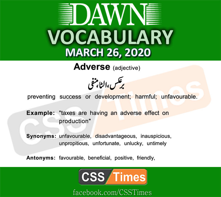Daily DAWN News Vocabulary with Urdu Meaning (26 March 2020)