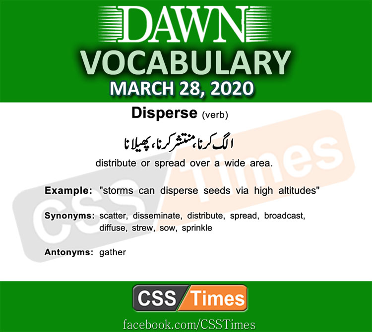 Daily DAWN News Vocabulary with Urdu Meaning (28March 2020)
