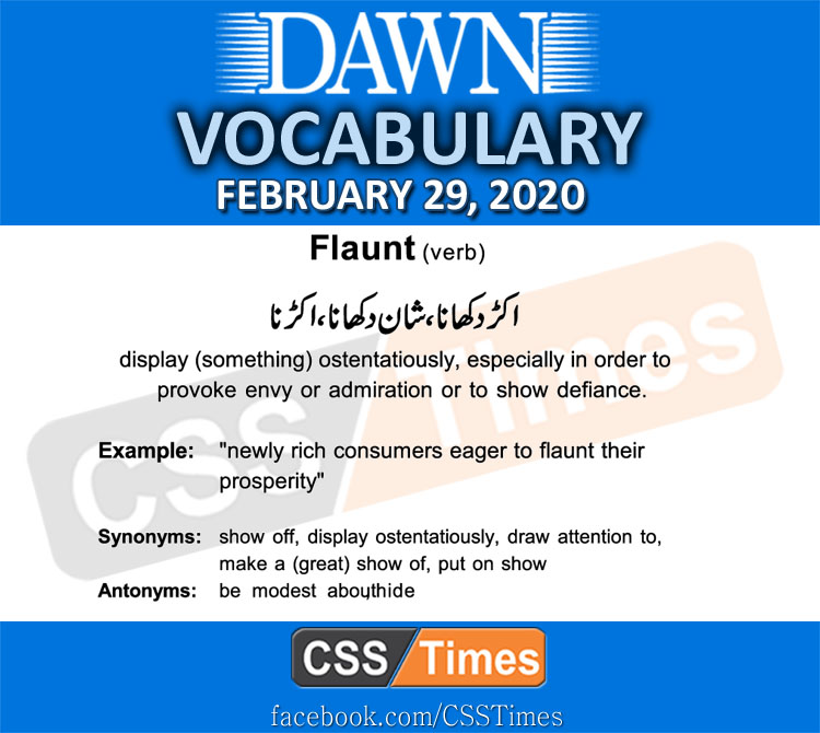 Daily DAWN News Vocabulary with Urdu Meaning (29 February 2020 )
