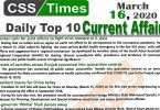 Day by Day Current Affairs (March 16, 2020) MCQs for CSS, PMS