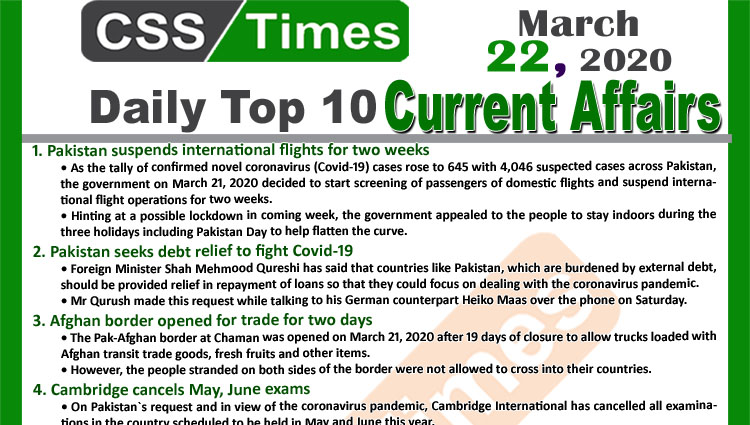 Day by Day Current Affairs (March 22, 2020) MCQs for CSS, PMS