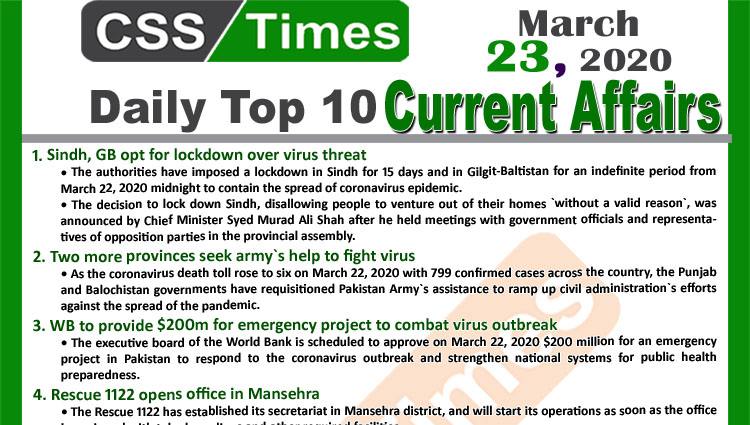 Day by Day Current Affairs (March 23, 2020) MCQs for CSS, PMS