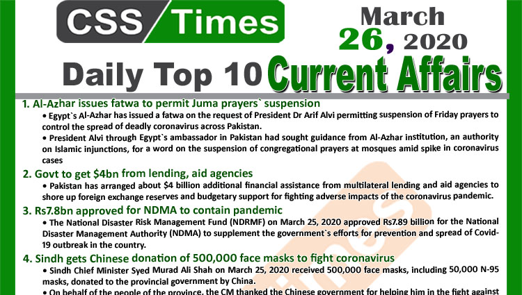 Day by Day Current Affairs (March 26, 2020) MCQs for CSS, PMS