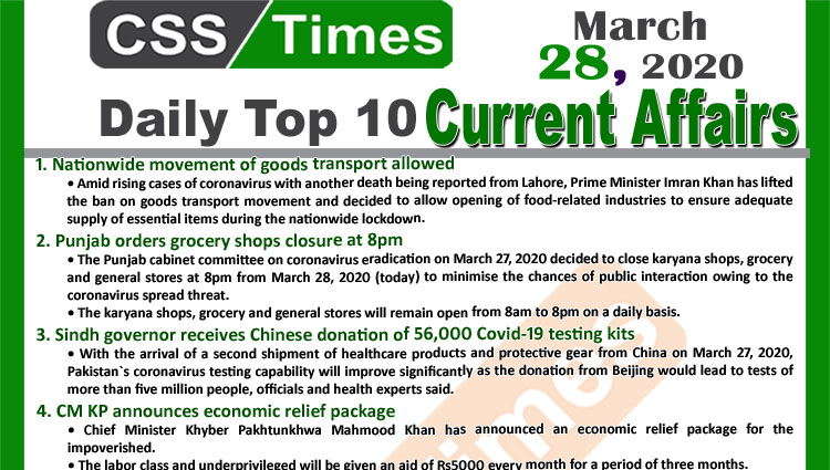 Day by Day Current Affairs (March 28, 2020) MCQs for CSS, PMS