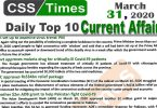 Day by Day Current Affairs (March 31, 2020) MCQs for CSS, PMS