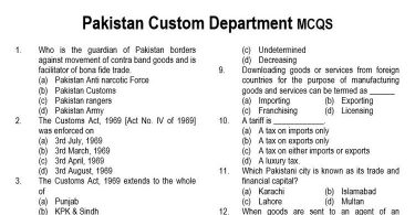 Pakistan Custom Department MCQs for Appraising / Valuation Officer (BS-16) in BoR