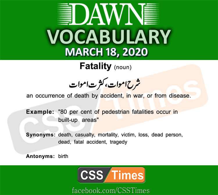 Daily DAWN News Vocabulary with Urdu Meaning (18 March 2020)