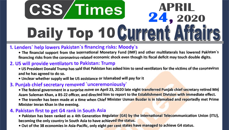 Daily Top-10 Current Affairs MCQs/News (April 24, 2020) for CSS, PMS