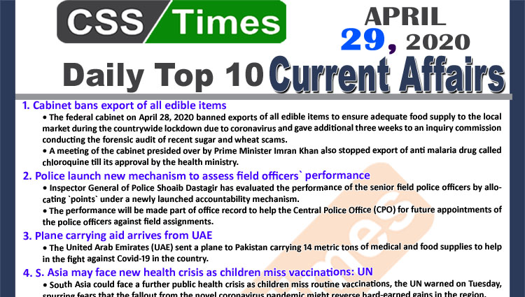 Daily Top-10 Current Affairs MCQs News (April 29, 2020) for CSS, PMS.jpg