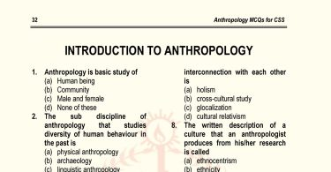Introduction to Anthropology MCQs for CSS (Set-I)