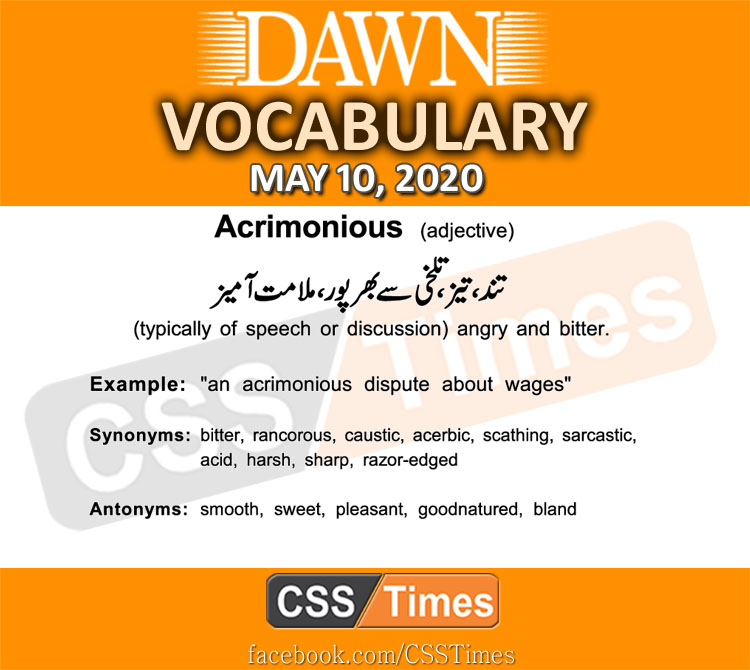 Daily DAWN News Vocabulary with Urdu Meaning (10 May 2020)