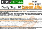 Daily Top-10 Current Affairs MCQs/News (May 04, 2020) for CSS, PMS