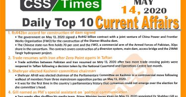 Daily Top-10 Current Affairs MCQs News (May 13, 2020) for CSS, PMS
