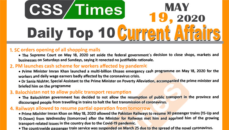 Daily Top-10 Current Affairs MCQs/News (May 19, 2020) for CSS, PMS